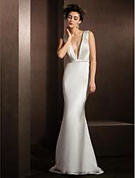 Lan Ting Trumpet/Mermaid Wedding Dress - Ivory Sweep/Brush Train V-neck Satin Chiffon