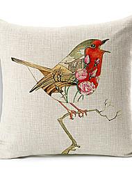 рисованной пение модели птица хлопок / лен декоративная подушка крышка