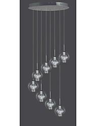8 Lamp Glass Pendant Light Modern Contemporary