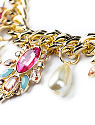 FG Women's Charm Statement Pearl Diamante Flower Necklace