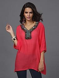 Women's Print Red/White Blouse , V Neck ½ Length Sleeve