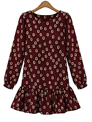 Women's Round Neck Sweet Gem Pattern Print Pleated Casual Loose Fashion Long Sleeves Dress