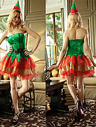 Green Angel Naughty Girl Velvet Christmas Costume