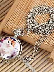 Modelo del gato esfera redonda collar de la mujer de cuarzo reloj de la aleación k blanco (1pc)