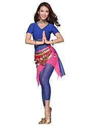 Belly Dance Dancewear Women's Tulle&Velvet Tassels Outfits Including Top, Skirt, Belt, Bottom