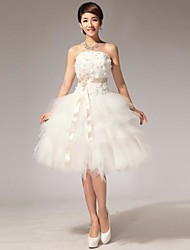 Ball Gown Wedding Dress Little White Dress Knee-length Strapless Tulle with Beading Flower Sash / Ribbon
