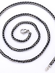 U7® Men's Cool Black Box Chain Aluminum Alloy Necklace 3MM 55CM With 316 Stamp Fashion Jewelry