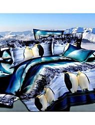 Duvet Cover Set,3D Oil Painting Bedding Set  4pcs Comforter Duvet Covers Bed Sheet Bedclothes Set with Penguin Pattern