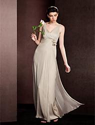 Hasta el Suelo Seda Vestido de Dama de Honor Funda / Columna Cuello en V con Recogido / Flor(es) / En Cruz / Fruncido