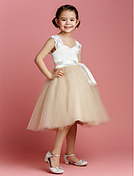 Lanting Bride Ball Gown Knee-length Flower Girl Dress - Tulle / Charmeuse Sleeveless Straps with Sash / Ribbon