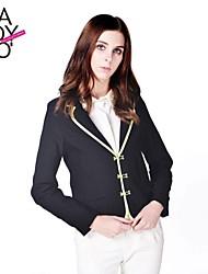 haoduoyi® Frauen drei Reihen von Metall-Taste Schlaufen Langarm kurzes suit