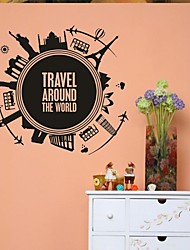 Wall Stickers Wall Decals, Home Decoration Travel Around The World PVC Mural Wall Stickers