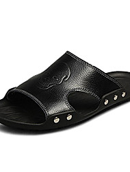 Men's Shoes Casual Leather Sandals Black/White