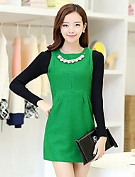 Women's Blue/Black/Green/Yellow Dress , Casual Sleeveless