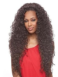 26inch Long Curly Brazilian Hair Lace Front Wig with None Bang