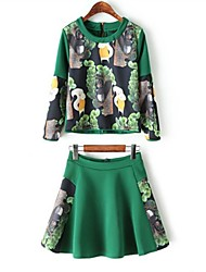 Women's Going out Spring T-shirt Suits,Print Round Neck Long Sleeve Blue / Green Polyester Medium