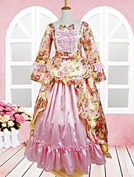 Long Sleeve Floor-length Pink Floral Cotton Sweet Lolita Dress