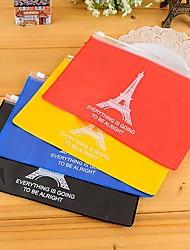la bolsa de la torre Eiffel patrón pvc almacenamiento cremallera (color al azar)