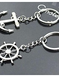 Sails and Tiller Interesting High-grade Stainless Steel Keychain Key Ring Symbol of Love (A pair)
