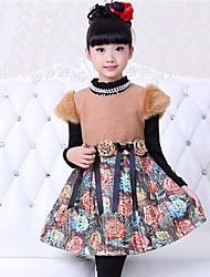 moda doce impressão vestido de manga curta da garota