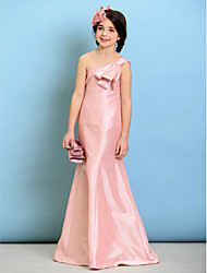 Floor-length Taffeta Junior Bridesmaid Dress A-line One Shoulder with Bow(s)