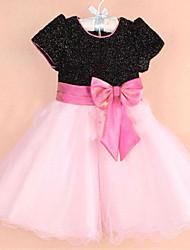 moda curtas mangas da menina bowknot vestido de paetês