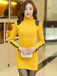 Women's Mini Dress , Cotton/Elastic/PU Red/Black/Yellow/Gray Bodycon/Casual