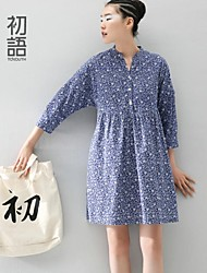 Women's Blue Dress , Casual ¾ Sleeve
