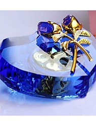 Crystal Heart Rose Flower Design Musical Box