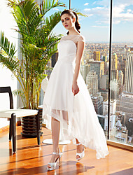 Lanting A-line Wedding Dress - Ivory Asymmetrical Bateau Chiffon