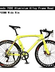 700c bicicleta 7 velocidades 50 milímetros de liga de alumínio de largura tl aro ™ quadro de freio de disco duplo bicicleta curva guiador estrada