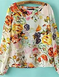 Women's Floral Multi-color Blouse/Shirt , Round Neck Long Sleeve