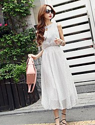 Women's Casual / Print Polka Dot Swing Dress , Crew Neck Maxi Polyester / Chiffon