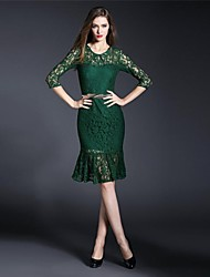 Women's Formal Dress Above Knee ½ Length Sleeve Black / Green Spring / Summer
