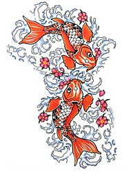 1 Pcs Waterproof  Color Large Pisces Water Pattern  Tattoo Stickers