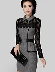 Women's Lace Gray Dress , Casual/Lace Shirt Collar Long Sleeve