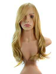 Women Golden Body Wavy Hair Synthetic Wigs Side Bang