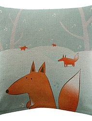 Musical Fox with Snow Cotton/Linen Printed Decorative Pillow Cover