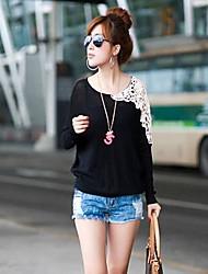 Frauen Rundhals Spitze Nähen Fledermaus Ärmel T-Shirt