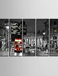 E-HOME® Stretched Canvas Art City Street Decoration Painting  Set of 5
