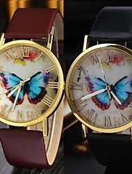Women's Vintage Belt Butterfly Round Belt China Movement Watch(Assorted Colors)