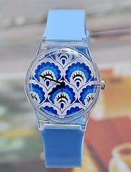 Mujer Cuarzo Japonés Plastic Banda Caricaturas Azul