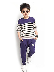 Boy's Fashion Round Collar Stripe Stitching Casual Clothing Sets(T-shirt&Harem Pants)