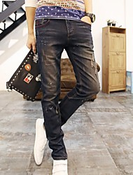 Men's Personality Paint Little Hole Jeans Korean Jeans
