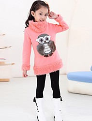 Girl's Fashion Sweet Owl Cotton Long Blouse