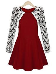 vestido de encaje de cuello redondo de la manera de las mujeres m.xiu