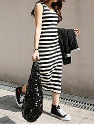 Women's Casual/Daily Bodycon Dress,Striped Round Neck Maxi Sleeveless Multi-color Spring / Summer / Fall
