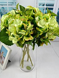 "New White Green Pink Silk Hydrangea 2 Pieces/Lot 18.11"" Stem for Home and Party Decoration"