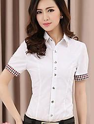 Women's Summer Shirt,Solid Shirt Collar Short Sleeve Medium