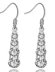 lureme®Fashion Style Silver Plated With Zircon Tower Shaped Dangle Earrings